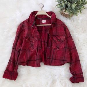 Urban Renewal   Cropped Flannel Jacket Sz M